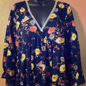 Umgee floral boho peasant dress NWT size large